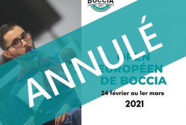 Open européen de Boccia annulé